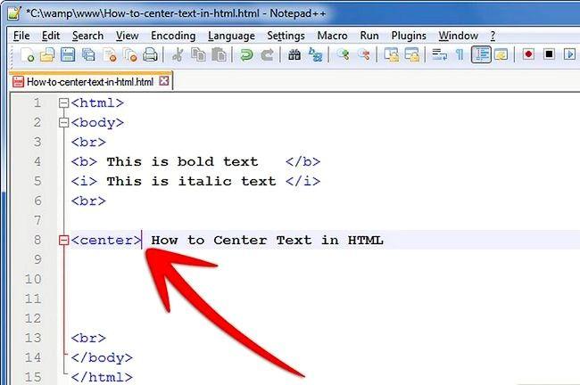 Prent getiteld Sentrum teks in HTML Stap 3
