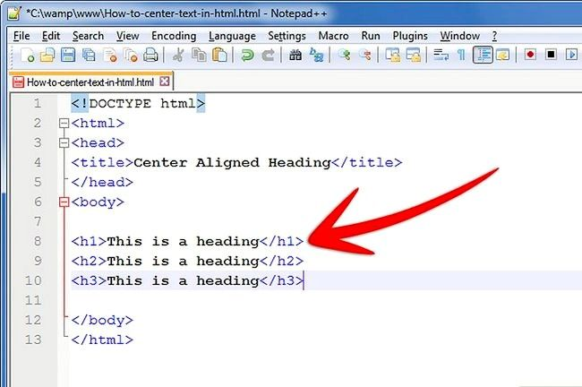 Prent getiteld Sentrum teks in HTML Stap 6Bullet1