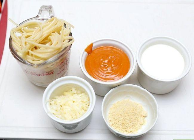 Prent getiteld Kookpasta Met Wit En Rooi Sous Stap 1
