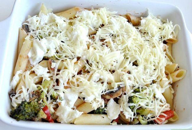 Prent getiteld Kook Vegetariese Pasta Stap 7