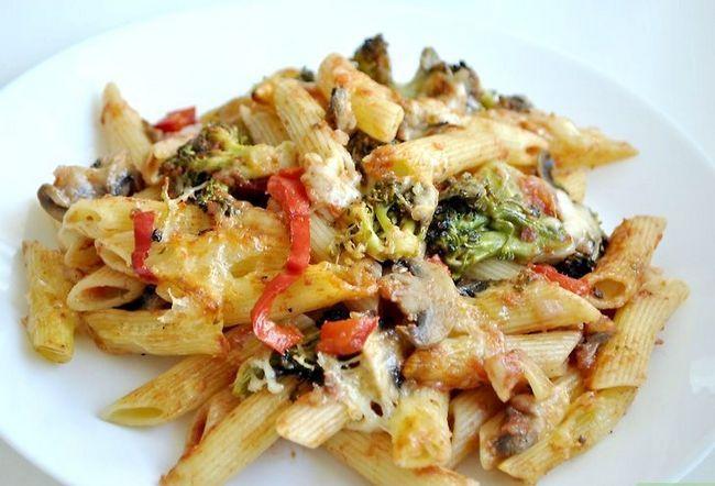 Prent getiteld Kook Vegetariese Pasta Stap 8