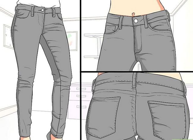 Prent getiteld Dra swart jeans Stap 1
