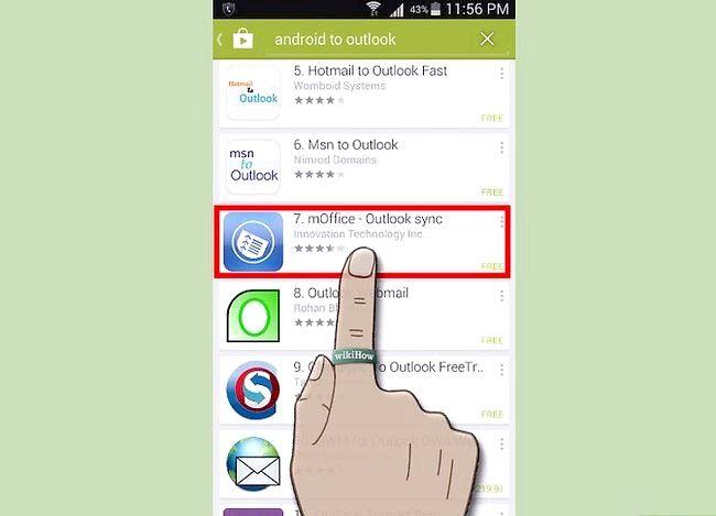 Prent getiteld Sluit `n Android aan Outlook Stap 1 aan