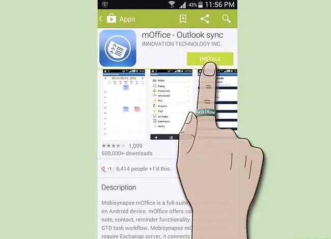 Prent getiteld Sluit `n Android aan Outlook Stap 2 aan