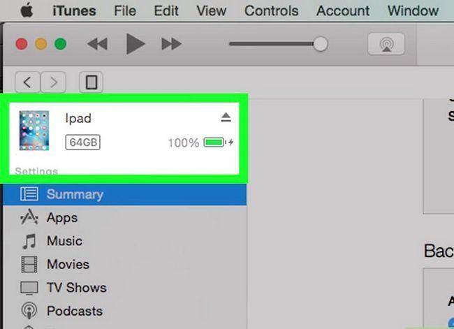 Prent getiteld Sluit `n iPad aan op iTunes Stap 3