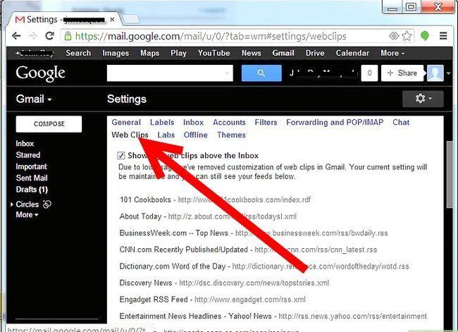 Prent getiteld Webknipsels instel vir `n Gmail-rekening Stap 3