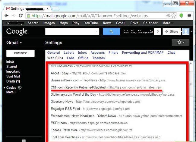 Prent getiteld Webknipsels instel vir `n Gmail-rekening Stap 4