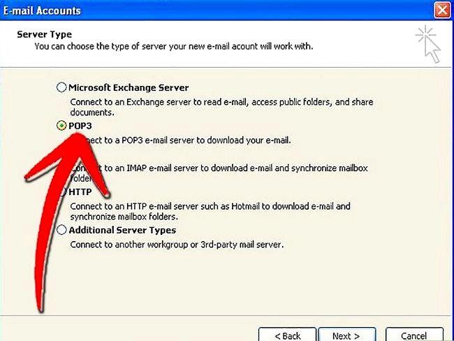 Prent getiteld Stel Microsoft Outlook Stap 3 op