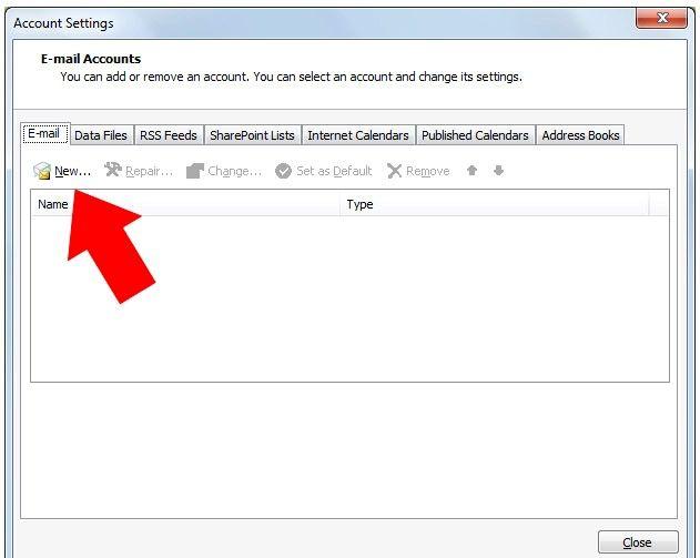 Prent getiteld Outlook 2007 instel om te werk met Gmail Stap 2
