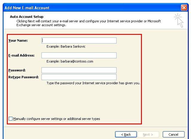Prent getiteld Outlook 2007 instel om te werk met Gmail Stap 4