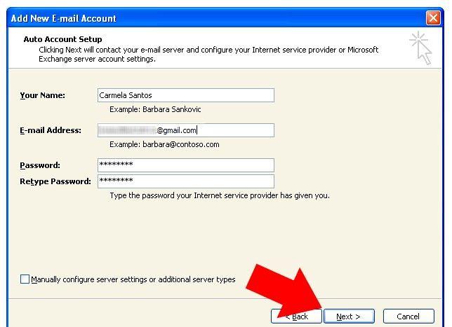 Prent getiteld Outlook 2007 instel om te werk met Gmail Stap 5