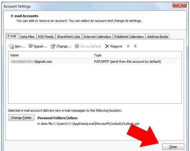 Prent getiteld Outlook 2007 instel om te werk met Gmail Stap 8