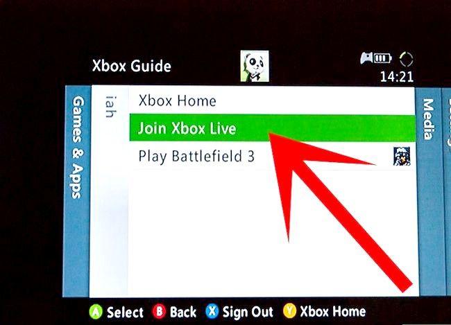 Prent getiteld `n Xbox Live-rekening instel Stap 5