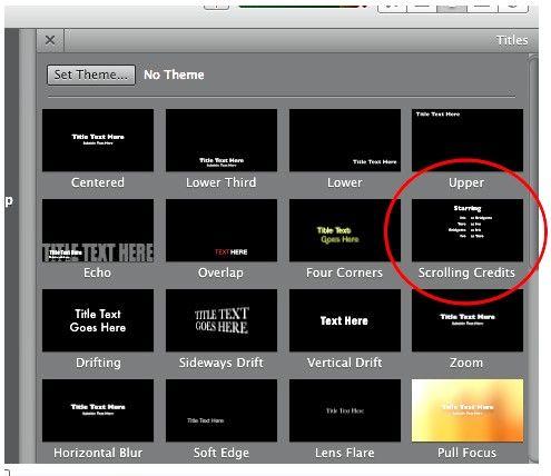 Prent getiteld Krediete maak in iMovie Stap 3