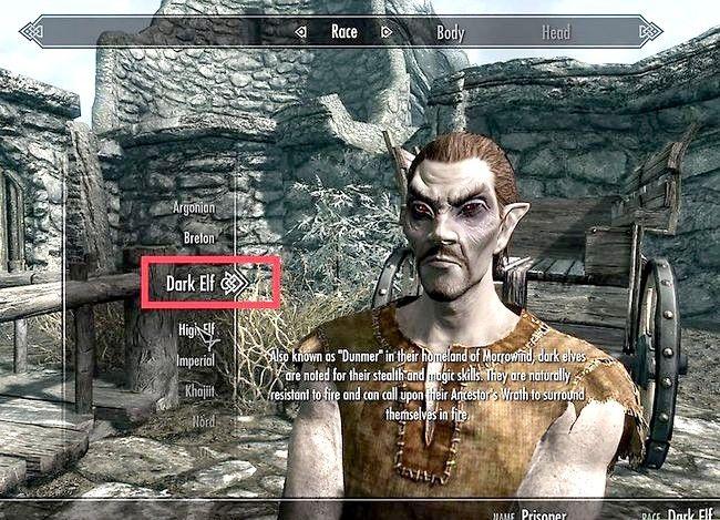 Prent getiteld Maak die regte karakter vir u in Skyrim Stap 5