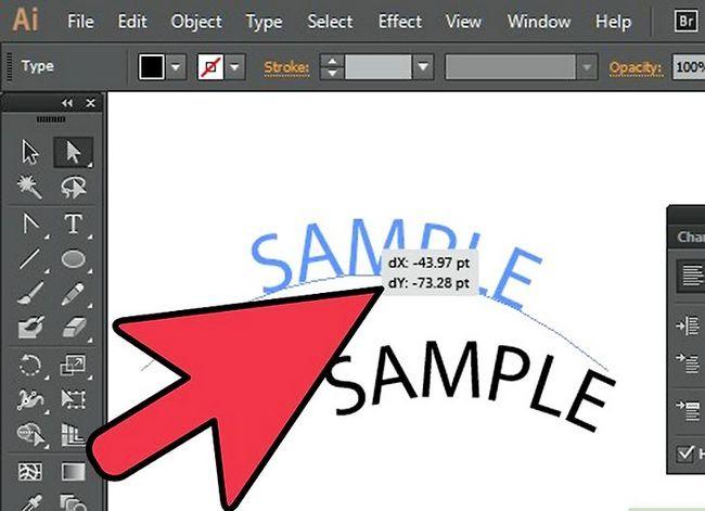 Prent getiteld Skep teks op `n pad in Adobe Illustrator Stap 4