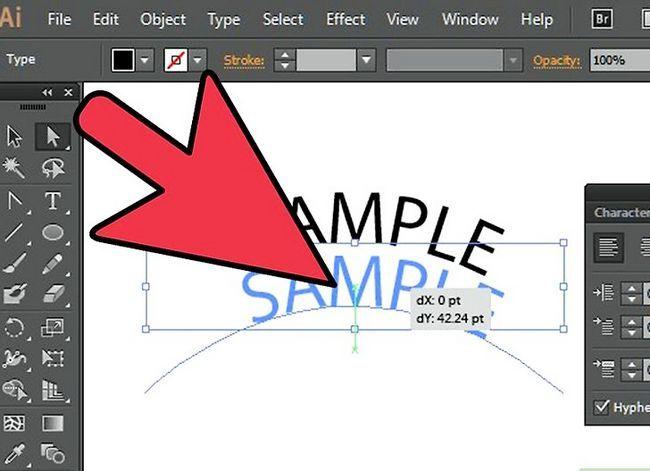 Prent getiteld Skep teks op `n pad in Adobe Illustrator Stap 5
