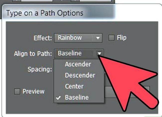 Prent getiteld Skep teks op `n pad in Adobe Illustrator Stap 6