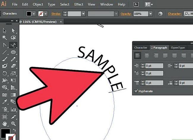 Prent getiteld Skep teks op `n pad in Adobe Illustrator Stap 9