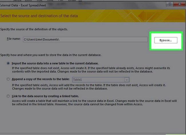Prent getiteld Skep `n databasis vanaf `n Excel Spreadsheet Stap 4