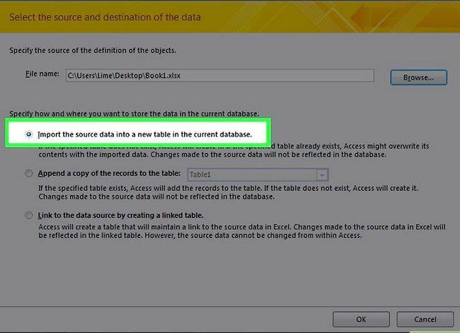 Prent getiteld `n databasis maak vanaf `n Excel Spreadsheet Stap 6