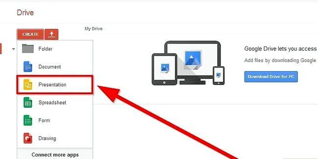 Prent getiteld Skep `n voorlegging deur Google Drive Stap 3 te gebruik