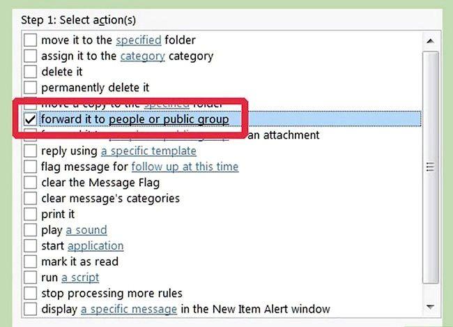 Prent getiteld Maak `n reël in Outlook om Mail Stap 14 te stuur