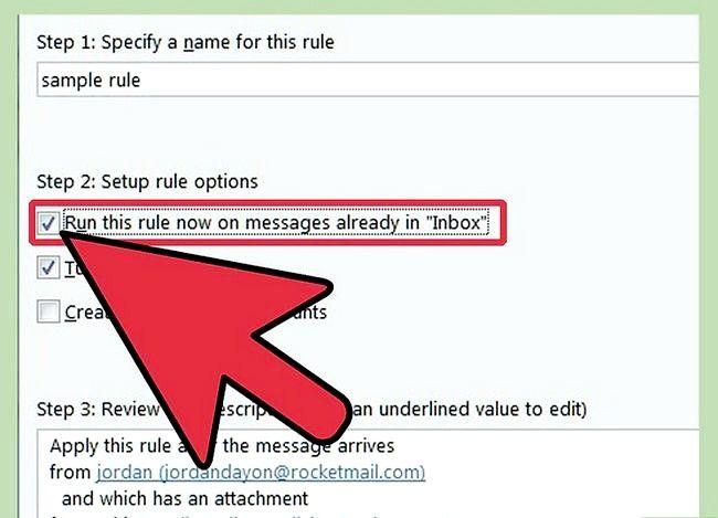 Prent getiteld Maak `n reël in Outlook om Mail Stap 17 te stuur