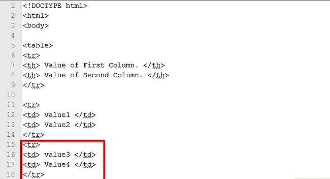 Prent getiteld Skep `n tabel in HTML-kode Stap 23