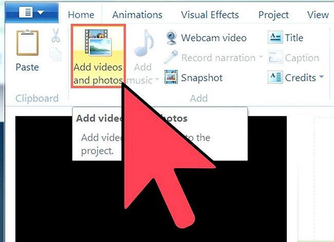 Prent getiteld `n video maak in Windows Movie Maker Stap 4