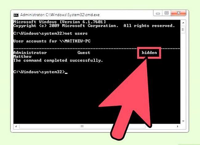 Prent getiteld Skep en bestuur `n verborge rekening in Windows 7 Stap 9