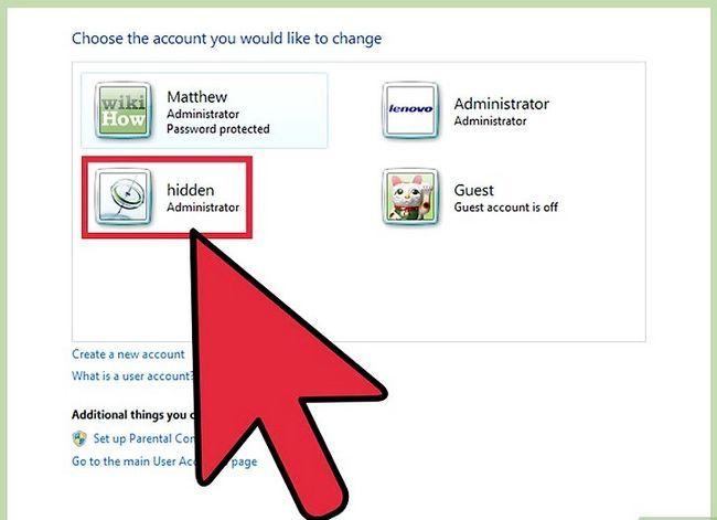 Prent getiteld Skep en bestuur `n verborge rekening in Windows 7 Stap 10