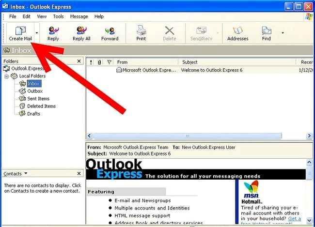 Prent getiteld Skep en stuur basiese e-posse met Outlook Express Stap 1Bullet1