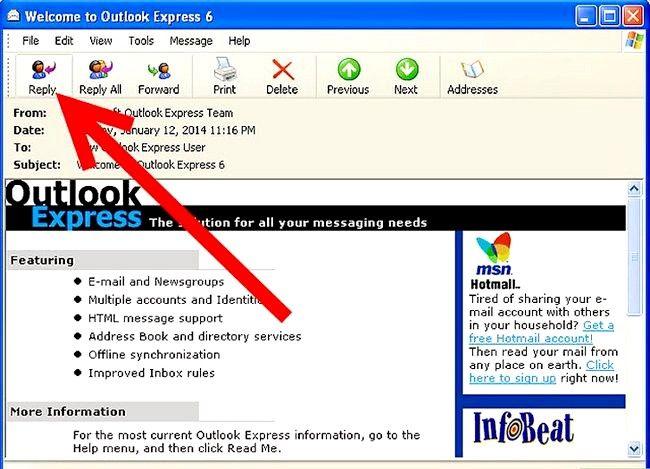 Prent getiteld Skep en stuur basiese e-posse met Outlook Express Stap 9