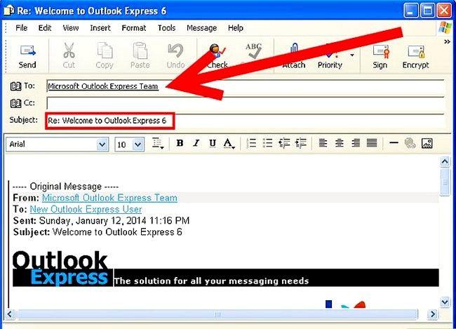 Prent getiteld Skep en stuur basiese e-pos met Outlook Express Stap 10