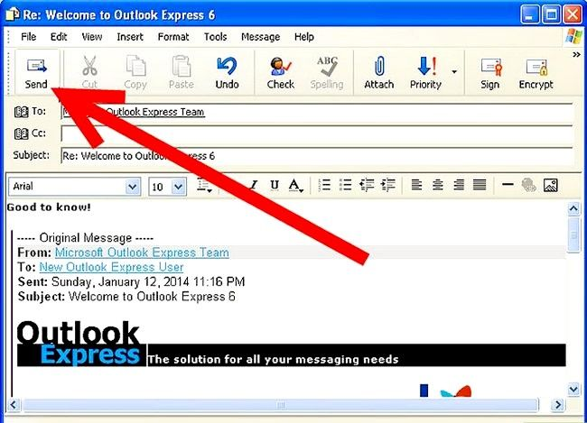 Prent getiteld Skep en stuur basiese e-pos met Outlook Express Stap 12