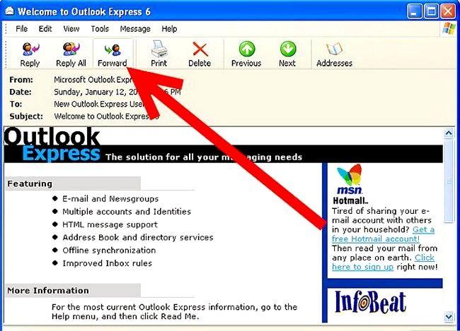 Prent getiteld Skep en stuur basiese e-pos met Outlook Express Stap 13