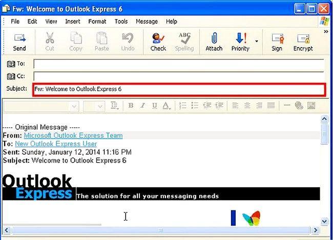 Prent getiteld Skep en stuur basiese e-pos met Outlook Express Stap 14