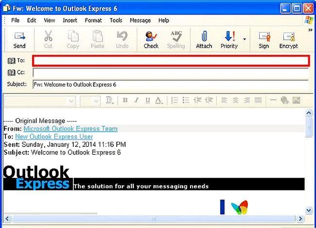 Prent getiteld Skep en stuur basiese e-pos met Outlook Express Stap 15