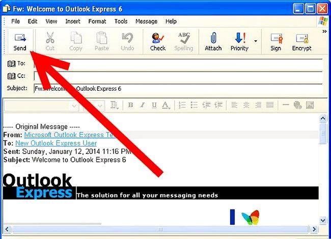 Prent getiteld Skep en stuur basiese e-pos met Outlook Express Stap 16
