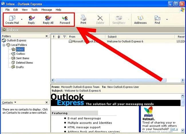 Prent getiteld Skep en stuur basiese e-pos met Outlook Express Stap 1Bullet5