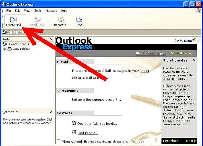 Prent getiteld Skep en stuur basiese e-pos met Outlook Express Stap 2