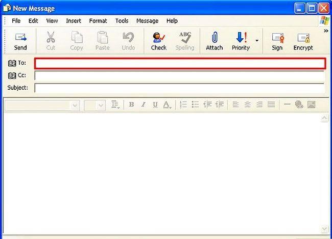 Prent getiteld Skep en stuur basiese e-pos met Outlook Express Stap 4