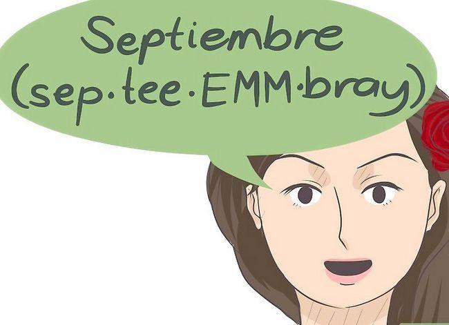 Prent getiteld Sê die kalendermaande in Spaans Stap 9