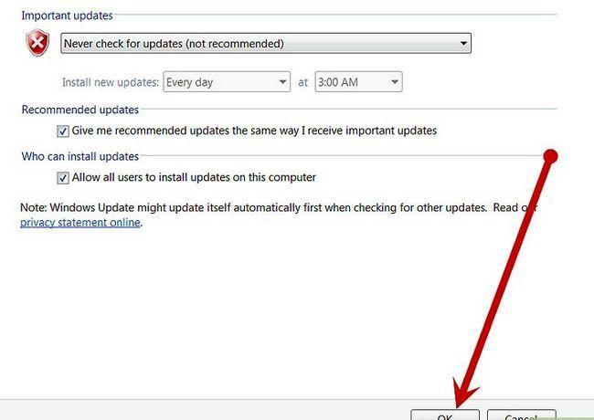 Prent getiteld Skakel Microsoft Updates uit stap 6