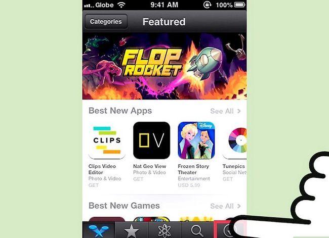 Prent getiteld Aflaai gekoopte programme Met iCloud Stap 3