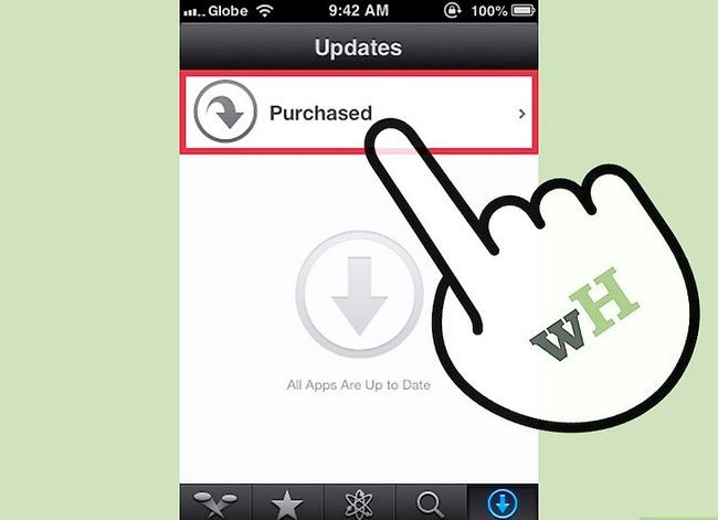 Prent getiteld Aflaai gekoopte programme Met iCloud Stap 4