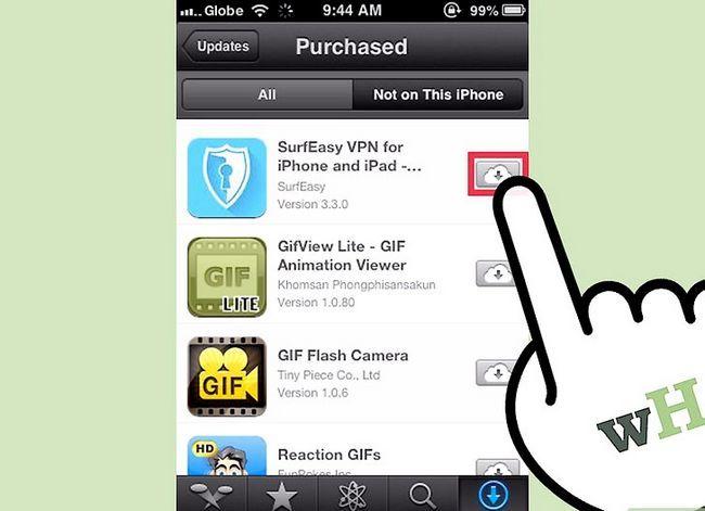 Prent getiteld Aflaai gekoopte programme Met iCloud Stap 6