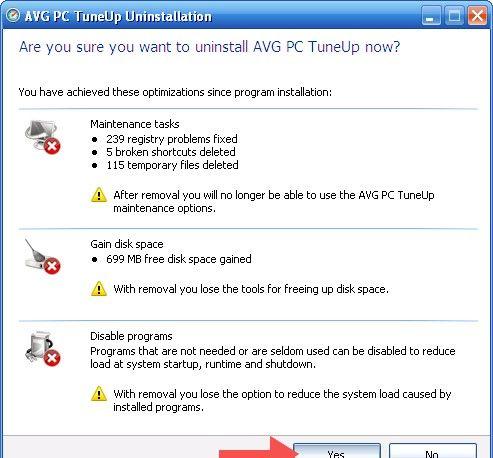 Beeld getiteld Verwyder AVG PC Tuneup Stap 4