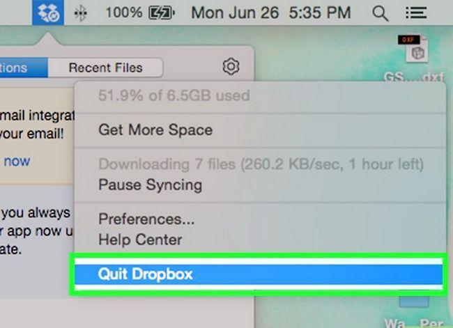 Prent getiteld Dropbox verwyder vanaf `n Mac Stap 2